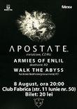 Afis Concert Apostate pe 8 august in Club Fabrica
