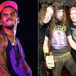 Solistul Chris Brown, fotografiat cu o jacheta plina de logo-uri cu trupe thrash metal (foto)